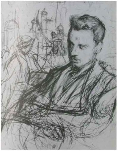 Rilke in Moscow by L. Pasternak (carbon drawing, c.1900)