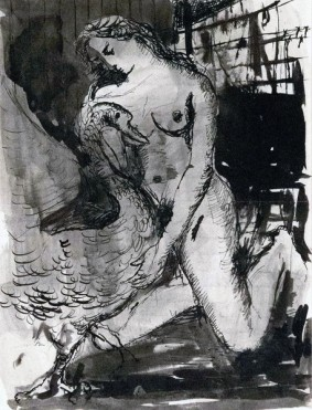 Léda et le Cygne (1947, Indian ink on paper)