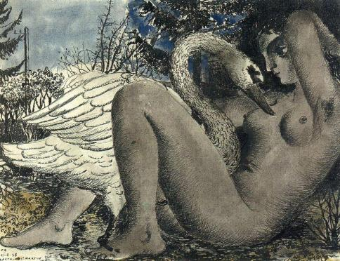 Léda et le Cygne (1948 - ink and watercolour)