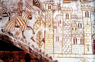 Painting mural from the Castle of Alcanyís representing the entrance of Jaume I of Aragon in Valencia in 1238