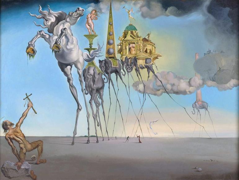 Salvador Dalí - La Temptació de Sant Antoni (oli sobre tela, 119.5 x 89.7 cm)