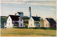 Lighthouse Village [Cape Elizabeth, Maine] (1929, watercolour with gouache over graphite, 40.5 x 63.3 cm)