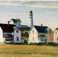 Lighthouse Village [Cape Elizabeth, Maine] (1929, watercolour with gouache over graphite, 40.5 x 63.3 cm)
