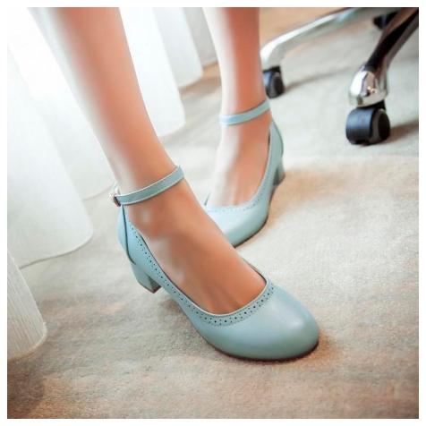 Light blue ankle strap pumps