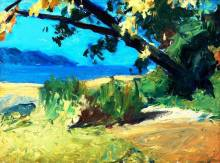 Trees and Beach (1916-19 - oil on panel, 24 x 33 cm)