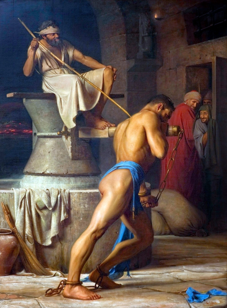 Carl Bloch - Samson and the Philistines, 1863 adj