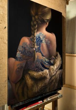 A. Nienartowicz's work in her studio