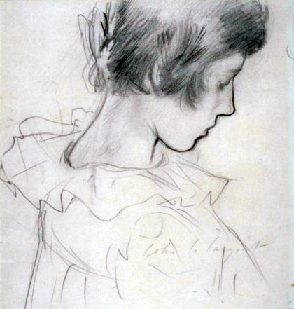 Dorothy Barnard 1885-6 - J. S. Sargent, 1856-1925 (graphite on paper, 24·5 × 21 cm)